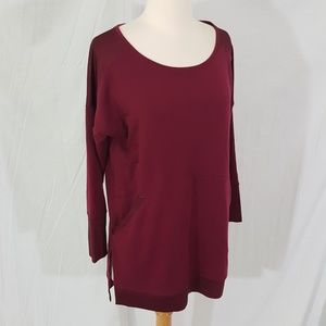 Nesh Burgundy Wine French Terry pullover top S